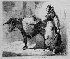 Vendedora de arena en Barcelona Dibujo, Enrique de Alba.Grabado, F. Laporta 25-04-1870