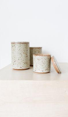 Victoria Morris Pottery Ceramic Canisters: Cream Speckle