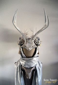 Winter Bridal Antler Headdress Celtic Ritual Crown Snow Goddess Costume Offbeat Wedding Pagan Deer ICE MAIDEN by Spinning Castle $1150