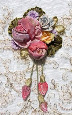 Gorgeous antique ribbon work spray. Antique and vintage embroidery ribbons