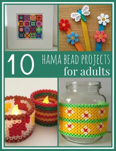 Ten Hama bead projects for adults, proving that Hama, Perler and other melty beads are not just fun for children to play with. I'm sharing some of my favourite Hama bead projects including home decor items and fun seasonal decorations Diy Projects For Adults, Craft Projects, Crafts For Kids, Arts And Crafts, Adult Crafts, Craft Ideas, Hama Beads Patterns, Beading Patterns, Mini Hama Beads