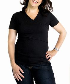 Take a look at this Black Flock Maternity & Nursing Short-Sleeve Tee - Women by Paola Maria on #zulily today!