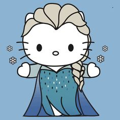 "Hello KItty dressed as Elsa from  the Movie ""Frozen"""