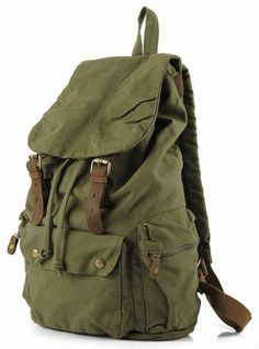 2abe24c9fc Durable Leather Green Canvas Backpack with Interior Zipper Pockets   Adjustable Shoulder Straps