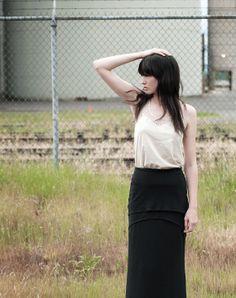 Tiered Maxi Skirt - long eco friendly black bamboo jersey, modern hi low hem with high waist