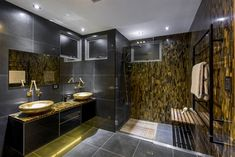 Bathroom Interior Design with Caesarstone 8630 Concetto Tiger Eye by Enigma Interiors Stone Bathroom, Gold Bathroom, Modern Bathroom, Bathroom Trends, Bathroom Designs, Bathroom Interior, Small Bathroom, Small Shower Stalls, Gold Bad