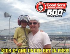 Bring the entire family out to Talladega Superspeedway for the Good Sam Roadside Assistance 500! Kids are FREE Saturday AND Sunday in the Allison Grandstands!    Call --> 877.Go2.DEGA