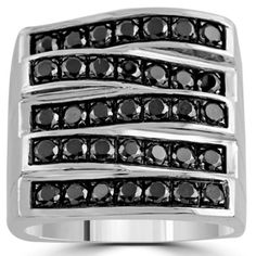 10K White Solid Gold Large Five Row Black Diamonds Mens Ring 1.93 Ctw