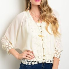 ✨NEW✨Cream Embroidered Crochet Button Blouse Cream colored blouse with an embroidered crochet front and gold metallic ball buttons. Available in S M L. PLEASE ASK FOR A SEPARATE LISTING. Tops Blouses
