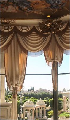 Elaborate layers of swags and bishop curtains. Swag Curtains, Curtains With Blinds, Window Curtains, Tall Curtains, Window Coverings, Window Treatments, Drapery Designs, Curtain Styles, Beautiful Curtains