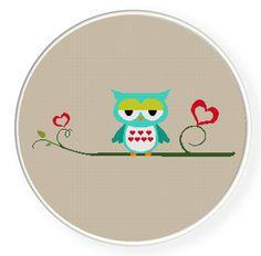 Buy 4 get 1 free ,Buy 6 get 2 free,Cross stitch,blue owl in love,zxxc0002. $5.00, via Etsy.