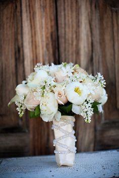 Bouquet - white lilac, sahara roses, white mini calla lily, white peony, and white stephanotis.