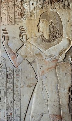 "[EGYPT 29330]<br /> 'Relief of Khaemhat in his tomb at Luxor.'<br /> <br /> The left wall of the entrance passage way of Khaemhat's tomb shows him worshipping the sun. The text columns record a hymn to Ra.<br /> Khaemhat (also known as Mahu) was an 18th dynasty royal scribe and 'Overseer of the Granaries of Upper and Lower Egypt. His tomb (TT 57) is located in the Sheikh Abd el Qurnah Necropolis on the Westbank at Luxor. It is one of the socalled ""Tombs of the Nobles"" and dates to the reign…"