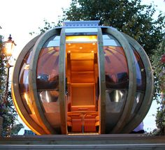Spherical Prefab G-PODs are High-Tech Loungers for Modern Nomads G-POD – Inhabitat - Sustainable Design Innovation, Eco Architecture, Green Building Summer House Garden, Home And Garden, Outdoor Rooms, Outdoor Living, Prefab Office, Garden Pods, Backyard Office, Backyard Retreat, Unusual Homes