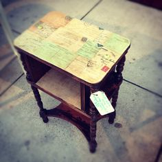 SOLD-Antique accent table with postcard decoupage antique buttons