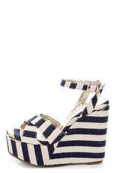 Very Volatile Nauttie Navy Blue Striped Platform Wedge Sandals
