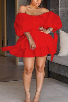 Fashion Sexy Off Shoulder Red Fluffy Sleeve Dress Cute Dresses, Dresses With Sleeves, Long Dresses, Maxi Dresses, Dress Outfits, Formal Dresses, Wedding Dresses, Feminine Dress, Classy Dress