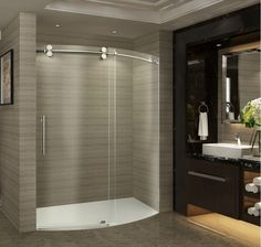 38 Inline Glass Shower Door And Panel Frameless With