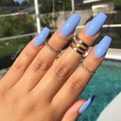 Baby blue Mani Would you rock this color? @glambymeli wears it beautifully