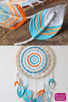 Feather Dreamcatcher DIY So pretty! A Fun Boho DIY Everyone Can Make! Learn how to craft this easy project with Studio Knit.So pretty! A Fun Boho DIY Everyone Can Make! Learn how to craft this easy project with Studio Knit. Diy Crafts Love, Diy Home Crafts, Diy Crafts To Sell, Sell Diy, Diy Crafts With Yarn, Home Crafts Diy Decoration, Diy Projects With Yarn, Diy Using Yarn, Diy Crafts Useful