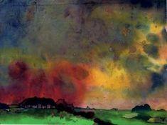 Emil Nolde, Marschlandschaft mit einem Bauernhof, c. 1930-35 on ArtStack #emil-nolde #art