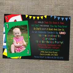 Uno Card Game Theme Birthday Invitation Old School Retro Style - DIY Printable Digital File - Colorful and Fun for a Baby Turning One! on Etsy, $10.00