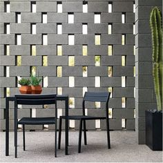 Design Within Reach - I like the cinder block wall Cinder Block Walls, Cinder Block Garden, Cinder Blocks, Outdoor Chairs, Outdoor Furniture Sets, Outdoor Decor, Ceiling Shelves, Brick Architecture, Mosaic Diy