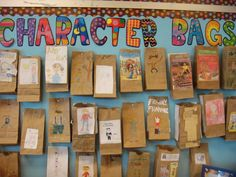 Character Bags with CTP's Dots on Chocolate Border and Poppin' Patterns letters. Great character education idea! ~ Could use with historical figures or story characters...assign one for each child or have one to introduce a topic