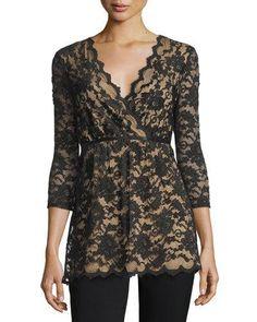 Max Studio Scalloped Lace Blouse, Black/Nude  New offer @@@ Price :$118 Price Sale $69
