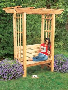 7 outdoor seating projects for the #weekendwarrior: (1) Build an arbor bench. Use sturdy, all-weather cedar to craft a cozy seating spot for your yard.