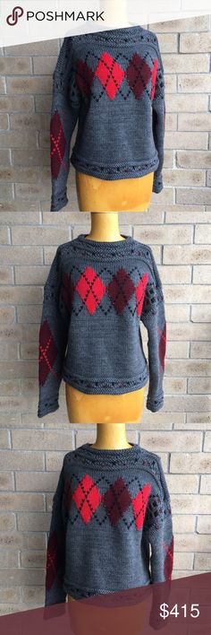ISABEL MARANT F16 Glens Mods Argyle Golf Sweater The chilly temps are (hopefully) behind us, but in just a few short months we will again find ourselves in the midst of sweater weather & wouldn't it be fabulous to have added this chic Parisian punk rock beauty to your collection? Isabel Marant's wool & alpaca blend Glens sweater w/it's Mods argyle intarsia knit features a cozy, oversize fit, raised braided details & boat neckline. B40 W40 L20. Originally $935 Currently at $561 on sale! EUC…