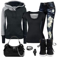Sexy assassin style - jeans, boots, sweatshirt