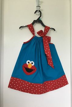 Custom Made Pillowcase Dress Black Polka Dot With Elmo by likhaan