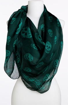 Alexander McQueen 'Skull' Chiffon Scarf available at #Nordstrom