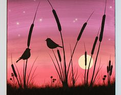 love birds paintings - Google Search Night Painting, Art Painting, Abstract Painting Acrylic, Silhouette Painting, Silhouette Art, Art, Painting Art Projects, Canvas Art, Abstract