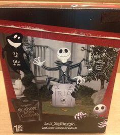 Jack Skellington Gravestone Nightmare Christmas Halloween Airblown Inflatable
