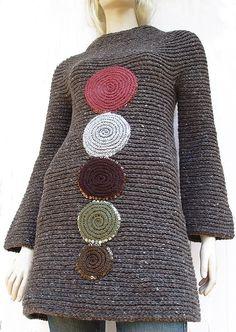Brown Sweater Tunic Mini Dress Tweed Effect Long Sleeves Wool