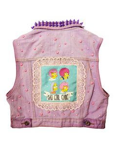 Sad Girl Gang Simpsons in wigs patch by Danny Brito Purple cropped studded vest
