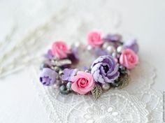 Купить Браслет Нежные чувства - стильное украшение, авторская ручная работа, цветочный, украшение с цветами