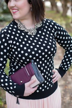 A Skirt for Winter // Stitch Fix Sweater // Black and White Polka Dots Sweater // Swell Caroline Gatsby Necklace // Target Skirt // Pink Pleated Skirt // New Directions Black Wedges // Jessica Simpson Livia Clutch Wallet // Pink White and Black