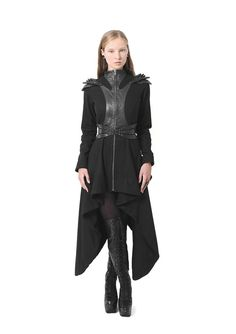 Jacket with tail and shoulder detail Mode Cyberpunk, Mode Sombre, Long Winter Coats, Cool Outfits, Fashion Outfits, Dark Fashion, Celebrity Outfits, Costume Design, Festivals