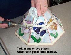 Stained glass lampshade tutorial - panels - at www.freepatternsforstainedglass.com