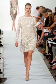 Fun idea for a rehearsal dinner look....Not overly traditional but chic and interesting... oscar_de_la_renta_2014
