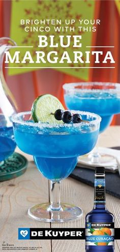 Plus up your margarita with a touch of tropical flavor and a pop of color! Take Sauza® Signature Blue Silver Tequila, which brings agave goodness to the base of the cocktail, and combine with DeKuyper® Triple Sec, Blue Curacao, and lime juice for a m Party Drinks, Cocktail Drinks, Fun Drinks, Cocktail Recipes, Blue Alcoholic Drinks, Cocktails 2018, Liquor Drinks, Slushies, Blue Curacao Drinks