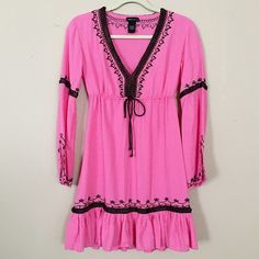 VS Moda International Boho Peasant Tunic Dress XS Excellent condition! Lightweight pink dress with brown ribbon detailing, & brown embroidering. Gathers & ties under breast bean be worn as a dress or a coverup. Smoke free pet free Victoria's Secret Dresses