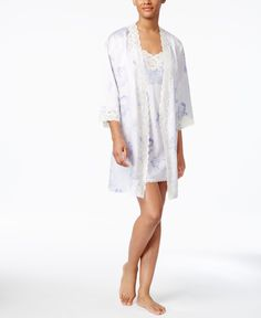 Lauren Ralph Lauren Lace-Trimmed Printed Satin Wrap Robe