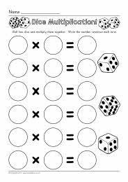 Dice multiplication worksheets