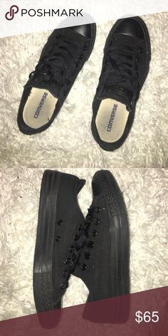 All black low top converse Rarely ever worn. Shoes are good as new. All black low tops. Men's size 6 women's 8. Shoes run a little big. Converse Shoes Sneakers