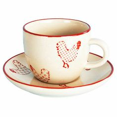 Barnyard-style 12-piece Coffee Cups and Saucers Set