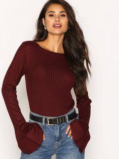 NLY Trend On Your Side Knit Strikkede gensere - Vinrød str. XS 199,-